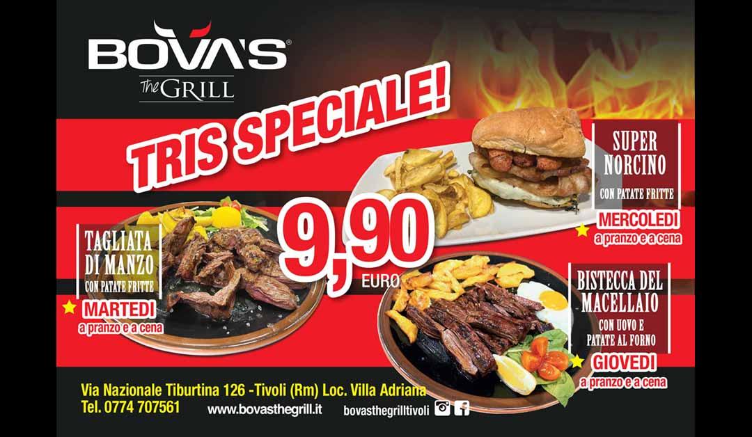 Bova the Grill Tivoli offerta Tris Otobre